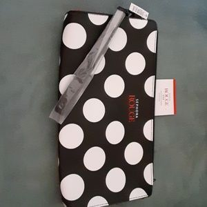 Sephora Makeup Bag Clutch Black White Polka Dot